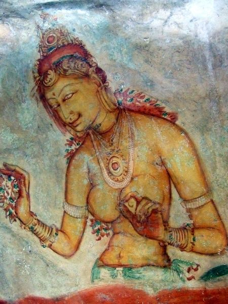 These remaining paintings are thought to be the only few left of the 500 ladies that decorated the rock walls. Sigiriya Rock. Sri Lanka