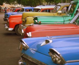 Colourful Vintage Havana Cars in a Row